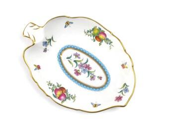Vintage Candy Dish - Spode Dish, Trinket Dish, English China, Leaf Shaped Dish, Trapnell Sprays, Elegant Gift, c1960s