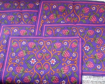 6 Vintage Linen Placemats 60s 70s Mod Kitsch Gift Nature Strawberries Purple