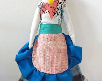 Handmade Folk Art Doll With Apron, Skirt, Sleeveless Print Blouse & Hat