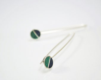 Sterling Silver Earrings, Divided Circles, Bue and Green, Modern, Contemporary, Minimal