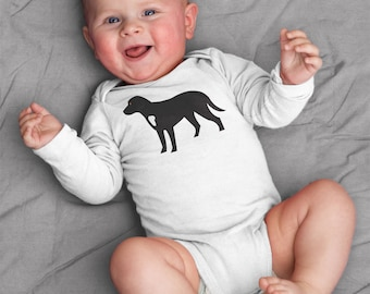 Baby clothes, Black Labrador baby bodysuit, baby boy, baby girl, baby shower gift