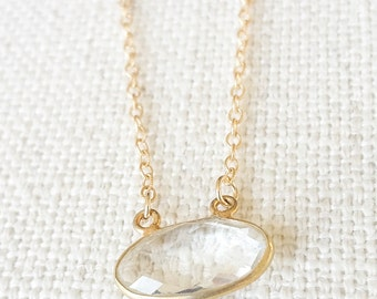 Gold Clear Quartz Bezel Necklace
