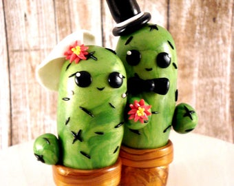 Cactus Wedding Cake Toppers Bride and Groom Cake Decoration Southwest Wedding Decor Ideas Cactus Cake Topper