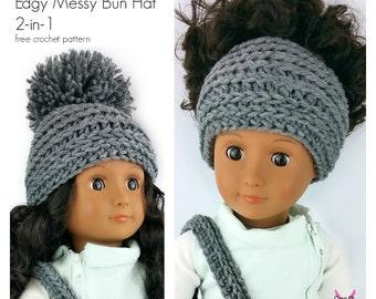 "My Dolly Edgy Beanie Messy Bun Hat 2-in-1 crochet pattern 18"" doll pattern - PDF"