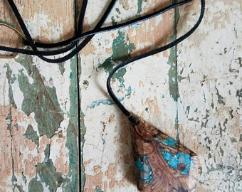 Handmade Pendant Necklace of Burled Oak Inlaid with Turquoise and Jasper Diffuser Jewelry for Essential Oils