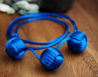 Three Balls Necklace by Monkey Fist Knot - Blue or choose your color
