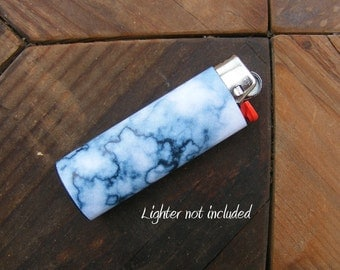 White and Blue Marble Vinyl Waterproof Sticker for Lighter, wrap, skin, cover, smoke weed, pot, bic, 420