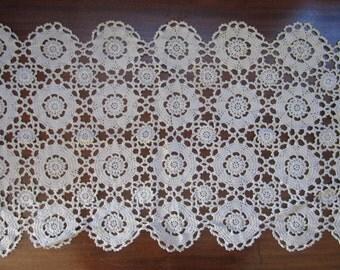 Vintage Handmade Crochet Doily Ecru Thick Rectangle