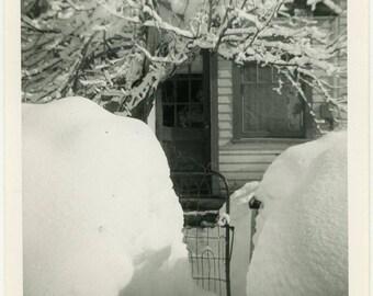 "Vintage Photo ""Tucked Away into the Winter Days"" Snapshot Antique Photo Old Black & White Photograph Found Paper Ephemera Vernacular - 115"