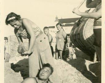 "Antique Photo ""Bobby's Bad Beach Day"" Silly Goofy Funny Humor Beach Friend Man Woman Weird Odd Gathering People Vernacular Photograph - 16"