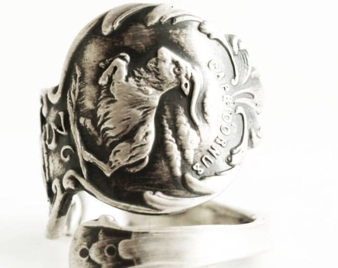 Capricon Ring, Zodiac Ring, Sterling Silver Spoon Ring, Goat Ring, Constellation Ring, Horoscope Ring, Astrology Ring, Adjustable Size, 5119