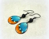 Turquoise and Orange Enamel Charm Earrings - Artisan Handmade Charms with Czech Picasso Beads - One of a Kind Earrings, Boho Chic Earrings