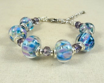 Blue and Silver Lampwork Bead Bracelet - Aqua and Lavender Lampwork Beads - Cotton Candy Lampwork - Adjustable Length