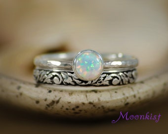 opal engagement ring and pattern band wedding set in sterling silver bezel set solitaire - Opal Wedding Ring Sets
