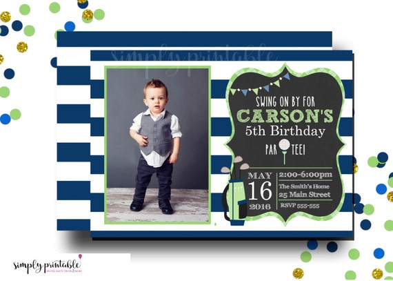 Golf Invite with Photo, Golf Invitation, Blue Green Striped Golf Invitation, Golf Party