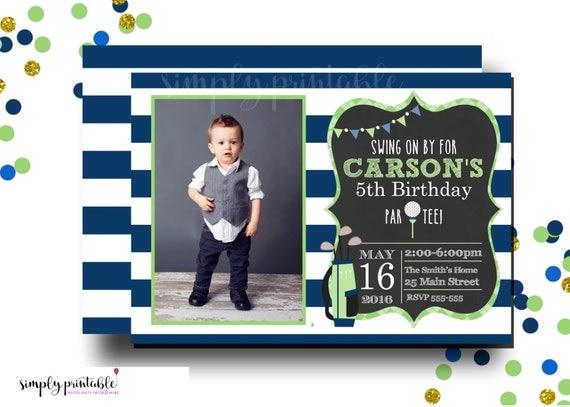 Golf Invite with Photo, Golf Invitation, Blue Green Striped Golf Invitation, Golf Party