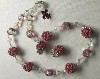 Vendome pink rhinestone and pink crystal necklace and earrings      VJSE