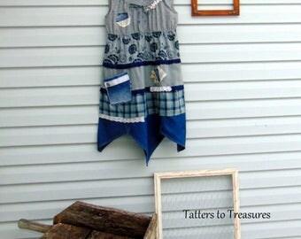 Refashioned Upcycled Spring Summer Sleeveless Denim Cotton Sun Dress Boho Lagenlook Mori Girl SIZE MEDIUM