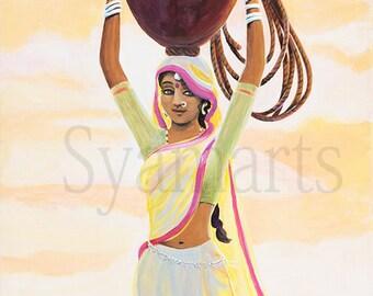 village girl with waterpot india gopi sunrise syamarts original painting prints available saffron skies natural landscape vrndavana