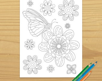 Butterfly Coloring Page, Flower Coloring Page, Spring Coloring Page, Garden Coloring Page, Insect Coloring Page, Digital Download