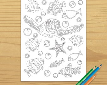 Sea Turtle Coloring Page, Fish Coloring Page, Ocean Coloring Page, Beach Coloring Page, Digital Download