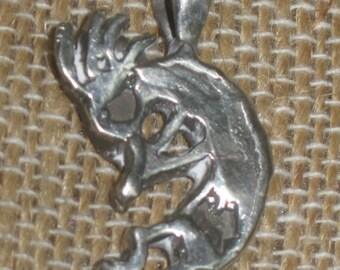 Kokopelli Dancer Pendant in Sterling Silver. Southwestern Jewelry. Native American Charm. Fertility Charm. Indian Jewelry.