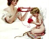 Why, Pretty Rogue by Harrison Fisher, American Beauties, Beautiful Woman & Cupid, Antique 1909 8x11 Color Art Print, FREE SHIPPING