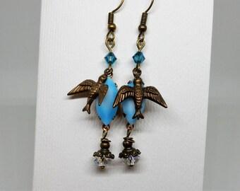 Bird Earrings, Blue Bird Earrings, Vintage Blue Stone Earrings, Happy Blue Birds, Bird Jewelry, Bird Earring Drops, Spring Bird Earrings