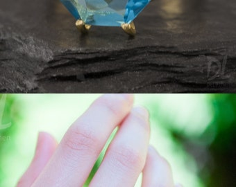 London Blue Topaz Ring Gold - December Birthstone Ring - Stack Ring - Stackable Birthstone Ring - Gold Ring - Marquise Prong Set Ring