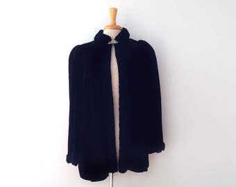 SOLD 1930s or 1940s black velvet opera coat with delicate ruched trim detail size large