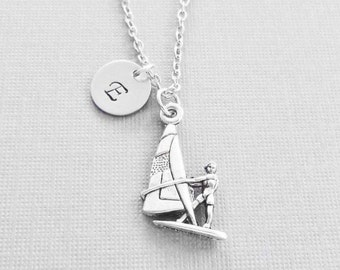 Windsurfer Necklace, Surfer, Sailing, Water Sport Jewelry, BFF Friend, Silver Jewelry, Personalized, Monogram, Hand Stamped Letter Initial