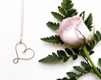 Modern Heart Necklace, Pendant Necklace, Silver Gold Necklace, Two Tone Necklace, Mixed Metal Jewelry, Minimal Necklace