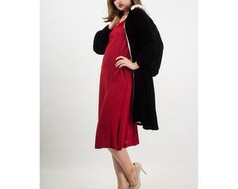 1930s black velvet coat / Vintage silk velvet opera coat with fur trim