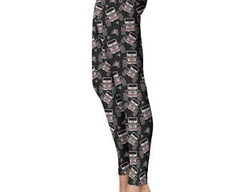 Plaid Offroad Leggings, Capris or Yoga Pants • Red & White Plaid