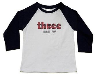 Lumberjack Birthday Shirt - Custom Lumber Jack Birthday Tee - 3rd Birthday Shirt - Use Any Number - Buffalo Plaid Lumberjack Birthday Party