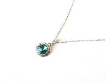 Turquoise Necklace, Crystal Necklace, Sterling Silver Necklace, Pendant Necklace, Swarovski Crystal Jewelry, Light Turquoise, Gift for Her