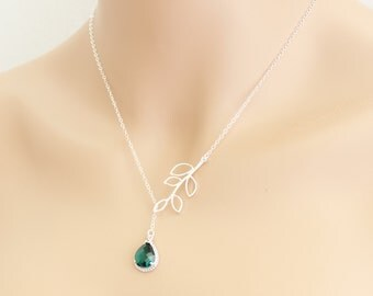 Lariat Leaf Emerald Necklace, Tear Drop Birthstone, Emerald Green, Lariat Necklace, May Birthdays, Wedding Jewelry, Emerald Jewelry, For Her