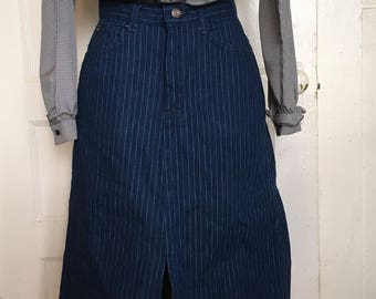 Denim striped skirt; blue; a-line; 80's