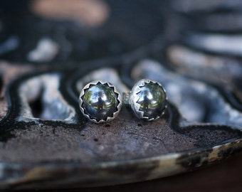 Hematite Earrings, Hematite Studs, Round Gemstone Earring, Serrated Bezel Earrings, Rustic Earrings, Black Earring