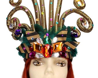 Flamboyance Tall Jeweled Feather Showgirl Headpiece Headband Flapper Queen 1920's Rainbow Cosplay