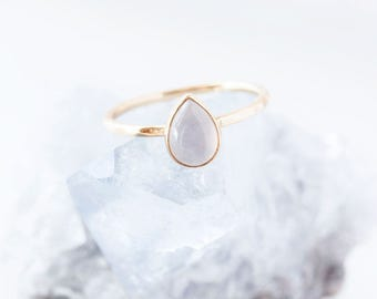 Teardrop Blue Chalcedony Gold Ring, solitaire ring, pastel blue, pear cut ring, blue gemstone ring, bezel set ring, stackable ring, cabochon
