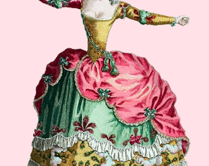 Fridge Magnet. Refrigerator Magnet. I Love You This Much. Dancer. Marie Antoinette. Marie Antoinette Card. Postcard. Pink. Gold. Love.