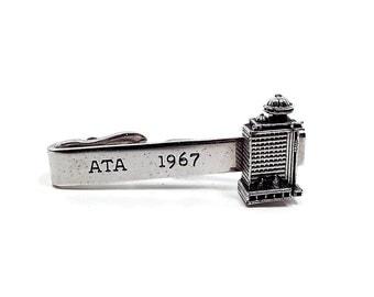 Vintage Tie Clip Clasp ATA 1967 Building Tower Silver Tone Swank Signed Mid Century Mens
