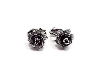 Small Rose Vintage Clip on Earrings Brushed Silver Tone Flower Retro Womens Floral Jewelry Spring Summer