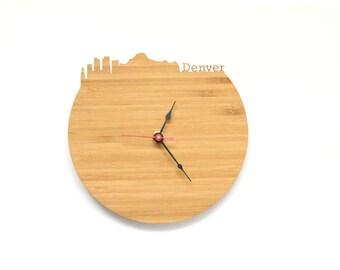 Denver Modern Clock - City Skyline Wall Clock - Colorado