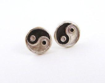 Tiny Yin Yang Silver Earrings - Stud, Fine Silver