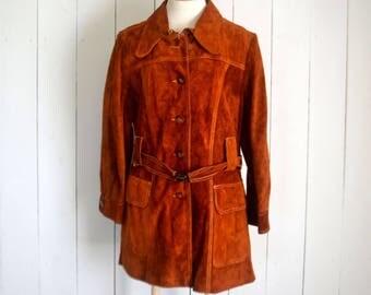 Suede Leather Trench Coat - 1960s Vintage Coat - Burnt Orange Dark Mustard - Hippie Boho Haight Ashbury Era Jacket - Large L