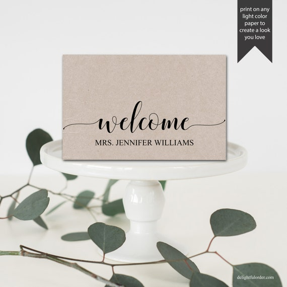 Editable welcome table place cards tent fold table setting for Table place cards
