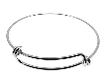 NEW 1 Expandable Silver Wire Bangle Bracelet | Silver Wire Bangle | Stacking Charm Bracelet | Adjustable Bangle -- 34810-2
