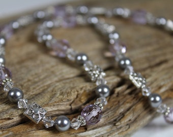 Lilac Glass Grey Pearl Swarovski Crystal Silver Necklace / Lavender / Purple and Grey / Sparkly / Gifts For Her / Gifts for Women / Simple